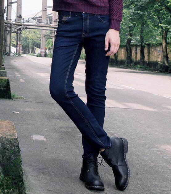 Denim Mâle 2017 Britannique Style Jeans Nouveau Mince De Taille Élastique Plus La Pantalon Hiver Printemps Hommes Bonne Bleu Qualité Marque Zx8O5qw