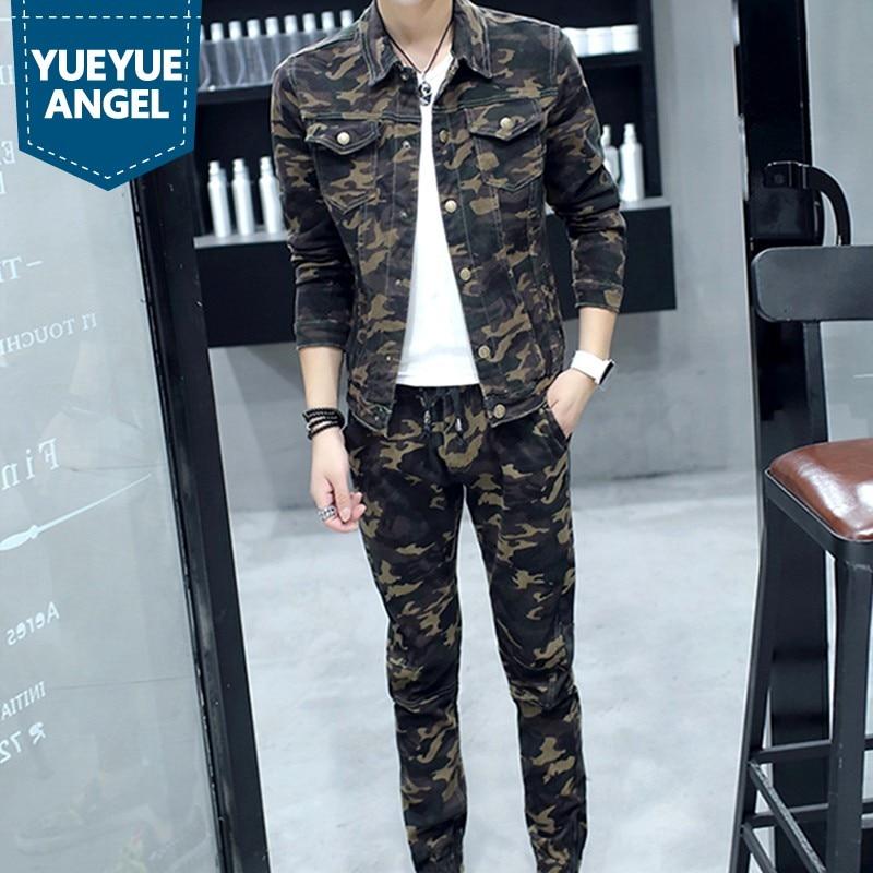 Printemps 2019 nouveau mode hommes ensembles militaire Camouflage à manches longues homme Jeans manteau Biker taille élastique pleine longueur Denim pantalon