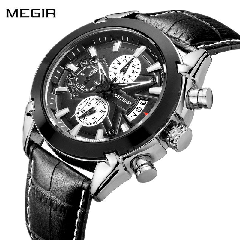 Relogio Masculino Mens Watches Top Brand Luxury Men Military Sport Watch Men Leather Quartz Watch erkek kol saati <font><b>MEGIR</b></font> <font><b>2020</b></font> image
