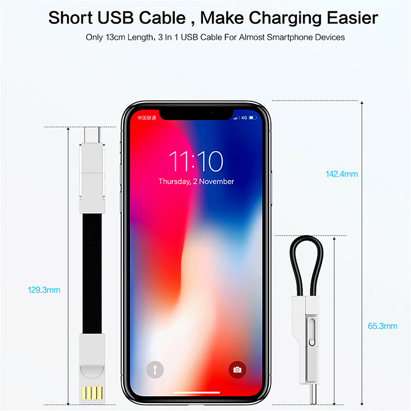3 in 1 Micro Usb Type C Key Chain Cable Cord For iphone 6s Charger Data Charging Keychain For Samsung Xiaomi Pro Microusb Cables in Mobile Phone Cables from Cellphones Telecommunications