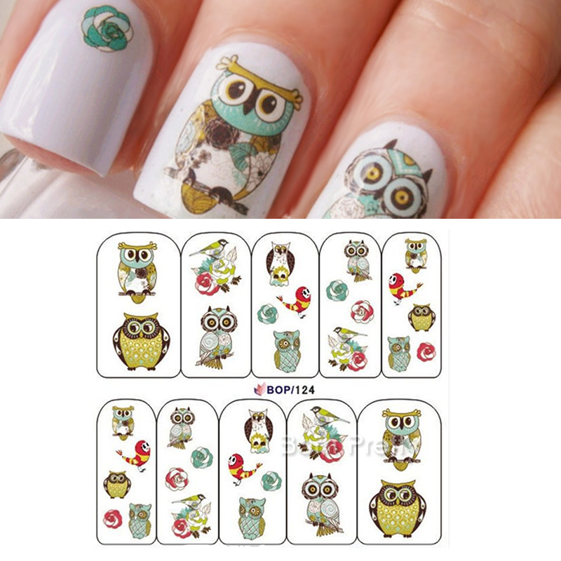 Nail Art Water Decals Transfer Stickers Cute Animal Owl Pattern Sticker BOP124 #15559