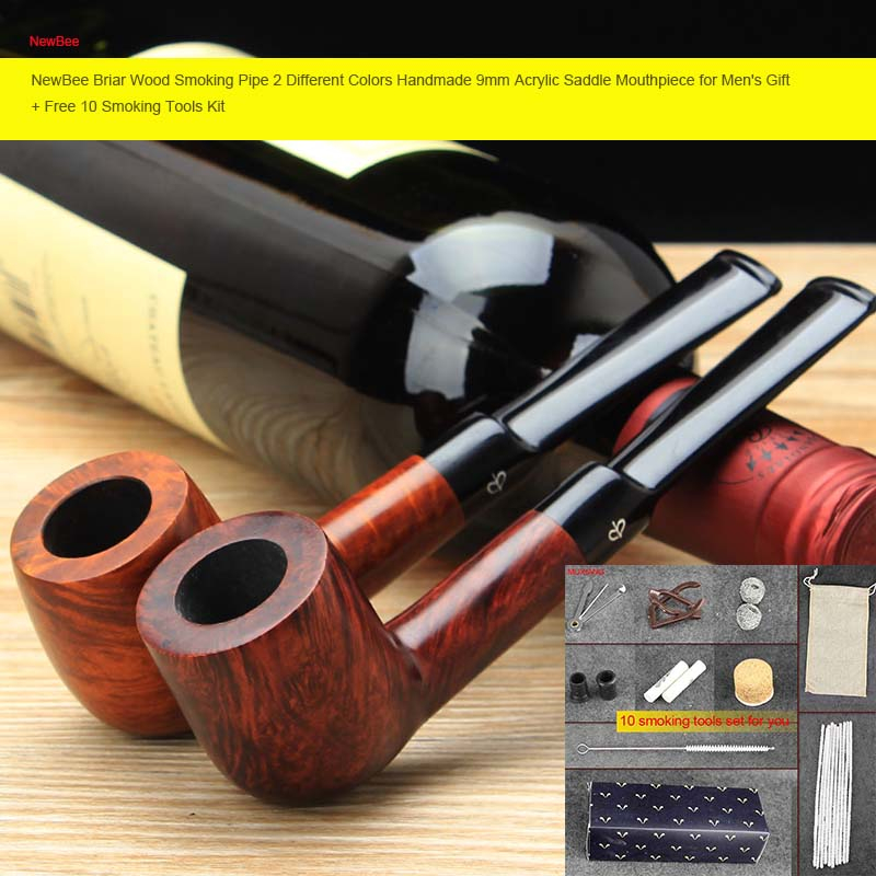 RU NewBee Free 10 Tools Briar Wood Smoking Pipe Different Colors Acrylic Saddle Mouthpiece for Men