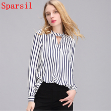 Sparsil Women Summer Chiffon Blouse Blue White Stripe Shirts Spring Plus Size Loose Elagant Office Ladeds Tops Female