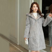 90 cm Long Plus Size S 8XL Hooded Natural Rabbit Fur Coats Outerwear Women Real Fur Jackets 2019 Autumn Winter New wsr430