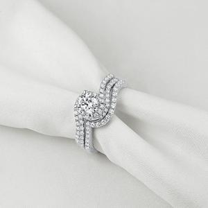 Image 4 - Женское кольцо для помолвки Newshe, белое, круглое, однотонное, 925 пробы, серебряное, 1R0023