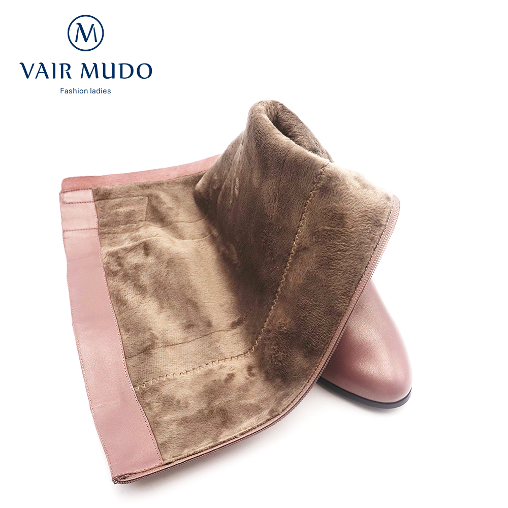 VAIR MUDO Knee High Boots thick High Heel Short Plush Genuine Leather Warm Comfortable Top Quality Women Winter Snow Boots ZT4 in Knee High Boots from Shoes