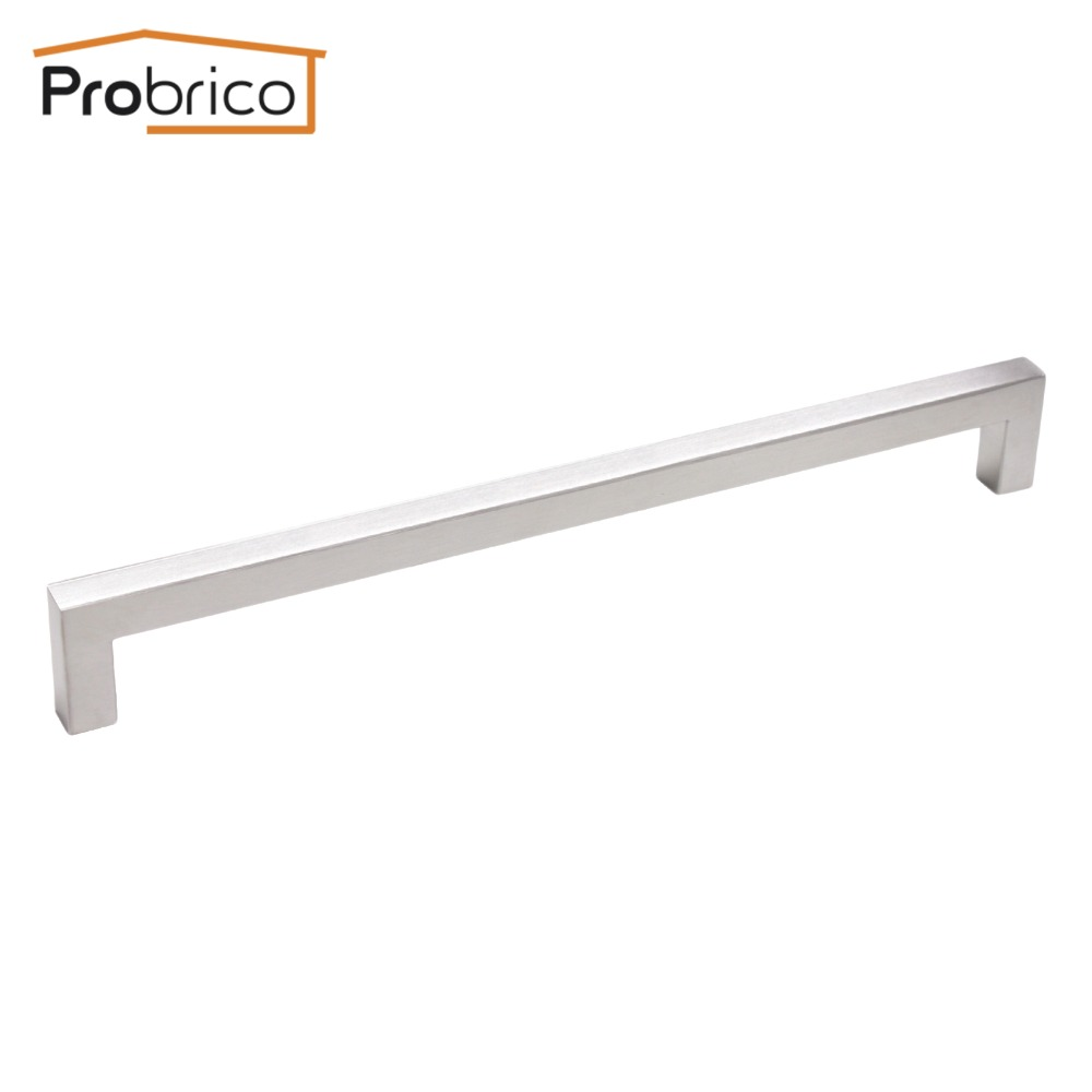 Probrico 12mm*12mm Square Bar Handle Stainless Steel Hole Spacing 256mm Cabinet Door Knob Furniture Drawer Pull PDDJ27HSS256 probrico 10mm 20mm square bar handle stainless steel hole spacing 128mm cabinet door knob furniture drawer pull pddj30hss128