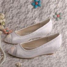 Wedopus MW366 Женщины Свадебная Обувь Клин Пятки White Satin Весна Осень