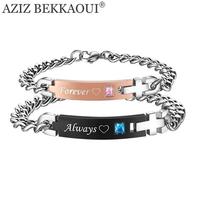 Drop Shipping Always Forever Matching Bracelets With Aaa Cz Stone Stainless Steel For