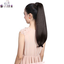 S-noilite Long 58CM Wrap Around Ponytail Pony tail Clip in Hair Extensions Straight Synthetic Wrap on Hair Piece Brown Blonde