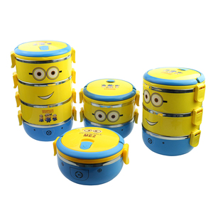 Cartoon stainless steel Lunchbox For Kids With Plastic Tiffin Boxes Minion Thermal Cute Bento In Tableware Dropshipping #