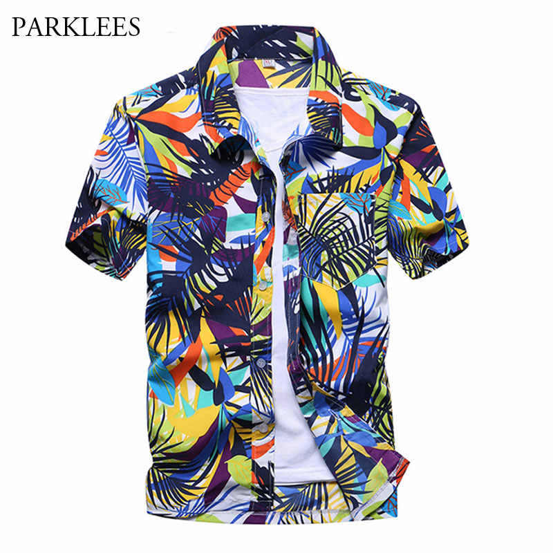Модные короткий рукав Для мужчин гавайская рубашка 2018 Фирменная Новинка Повседневное Slim Fit Пляжные рубашки Для мужчин для отдыха и вечеринок Костюмы Camisa hawaiana