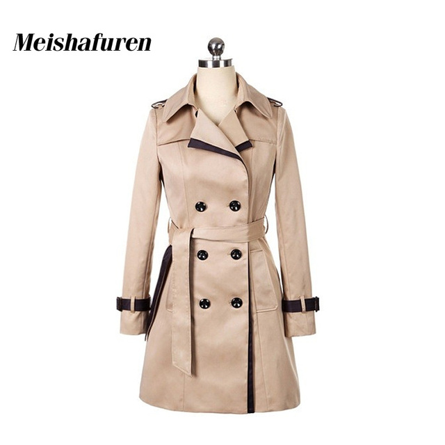 Donna Women Trench Coat Khaki Black Patchwork Turn-Down Collar Casual Double-Breasted Windbreaker Slim Coats With Belt W349Z