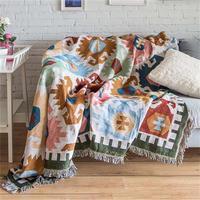 European Geometry Throw Blanket Sofa Decorative Slipcover Cobertor on Sofa Beds Plane Travel Plaid Non slip Stitching Blankets