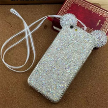 Phone Cases For iPhone 5 5S Shinny Cartoon Cute Animal Mickey Mouse Ear TPU Bling Diamond Glitter Crystal back Shell Cover