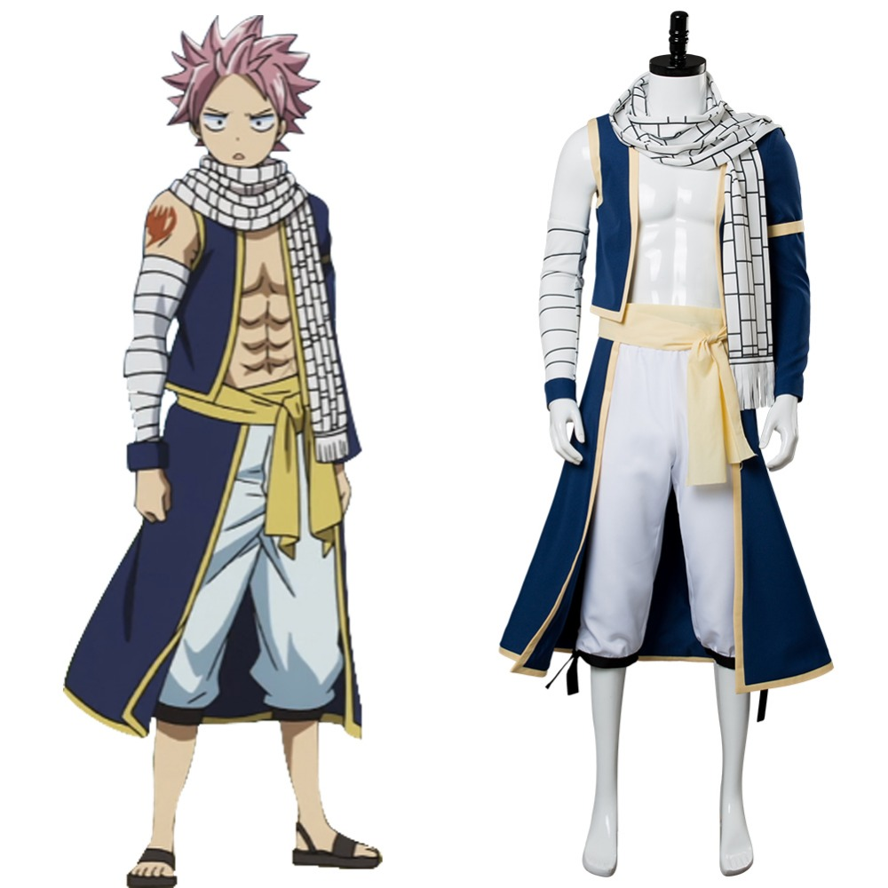 Fairy Tail Cosplay Natsu Dragneel Costume Cosplay Full Sets Outfit Uniform Cosplay Halloween Carnival Adult Costumes