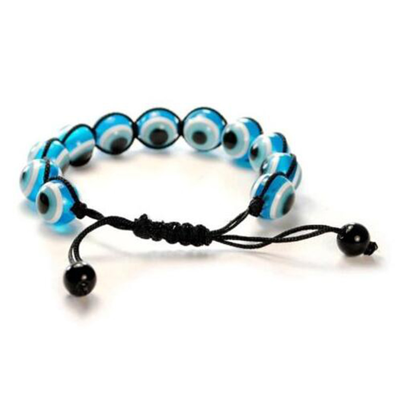 BRS016 Evil Eye Beaded Bracelet Bangle 12mm Light Blue Good Luck Protection Charm Adjustable Turkish Macrame Jewelry