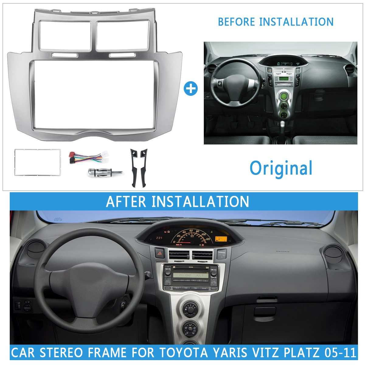 2Din voiture Auto Radio Fascia cadre pour Toyota Yaris Vitz Platz 2005 2006 2007-2011 couverture kit d'outils pour habillage 178x100/173x98/178x102mm panneau