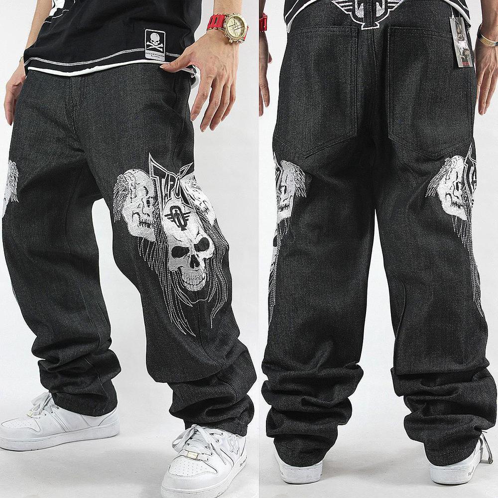 US $33.35 44% OFF|Pp Sale New Stripe Jeans 2020 Loose Hip Hop Jeans Men Printed Hiphop Hip hop Embroidered Skull Influx Of Casual Skateboard in Jeans