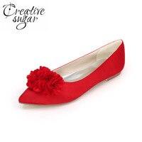 Creativesugar Doux 3D fleur pétale bout pointu femme appartements satin robe de soirée chaussures argent gris violet rouge blanc bleu royal