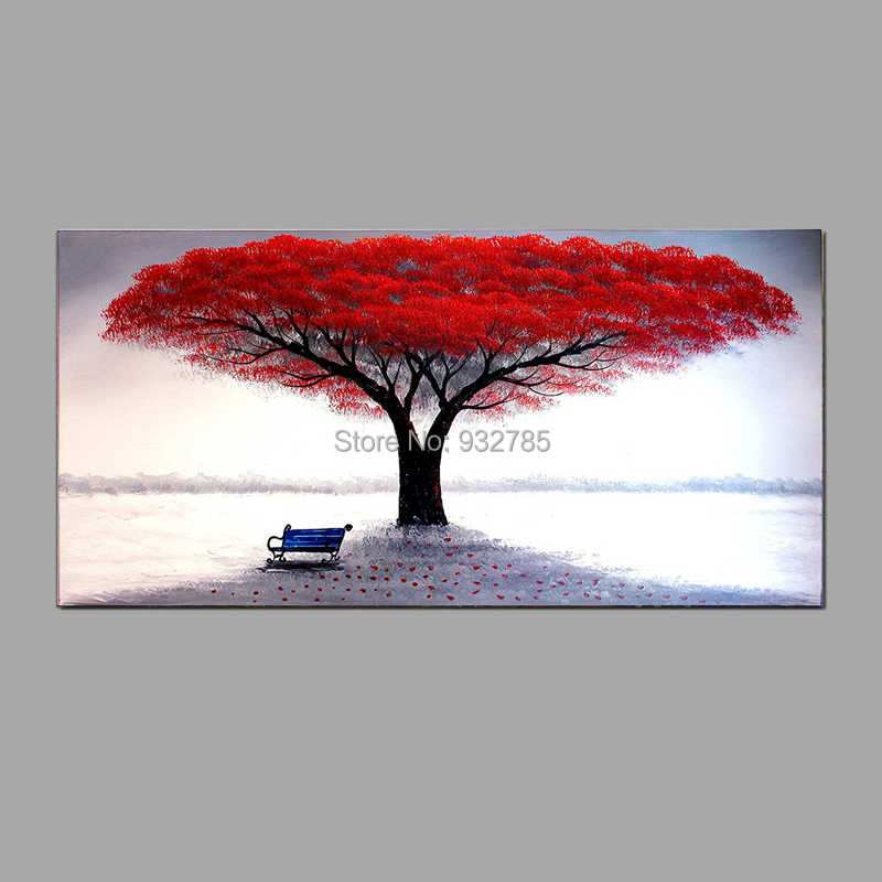 Hand Made Oil Painting On Canvas Tree Red Tree Oil Painting Abstract Modern Canvas Wall Art Living Room Decor Picture