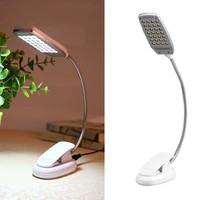 LED Touch On Off Switch Clip Desk Lamp 28 LED USB Charging Or Batteries Controlled Table