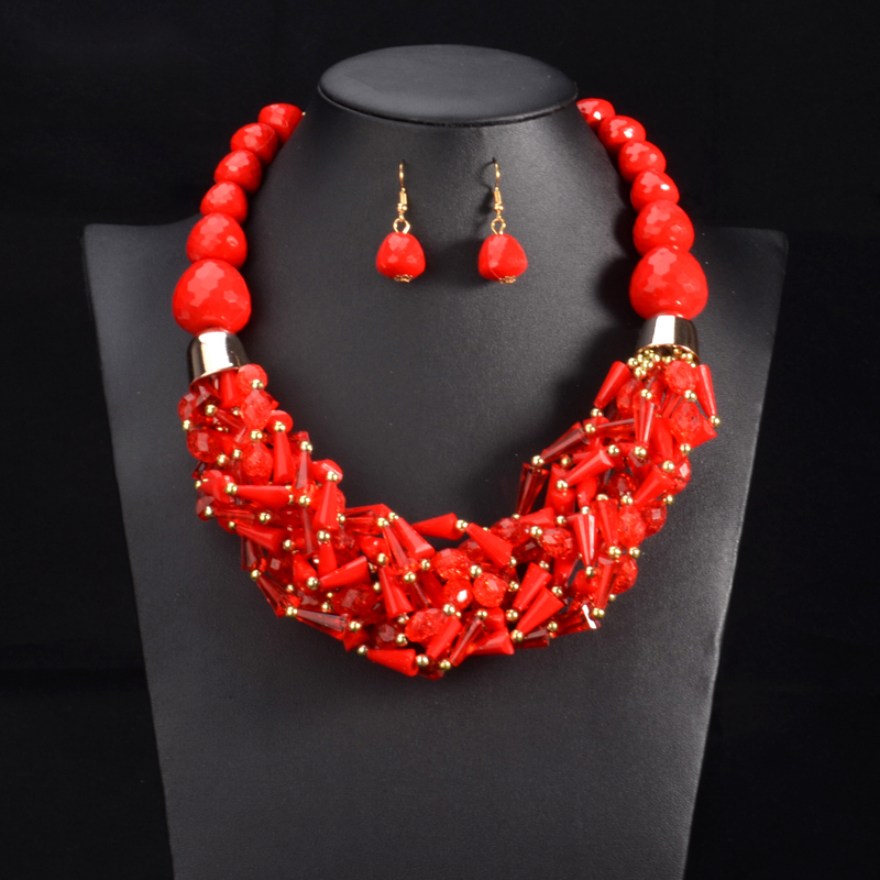 Multi Color African Beads Jewelry Sets Red Beads Chain