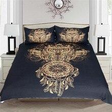 BeddingOutlet Golden Owl Bedding Set King Size Boys Luxury Dreamcatcher Print Black 3d Duvet Animal Feather Bohemian Bed Cover