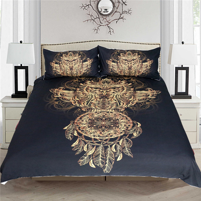 Luxury Golden Owl Bedding Set