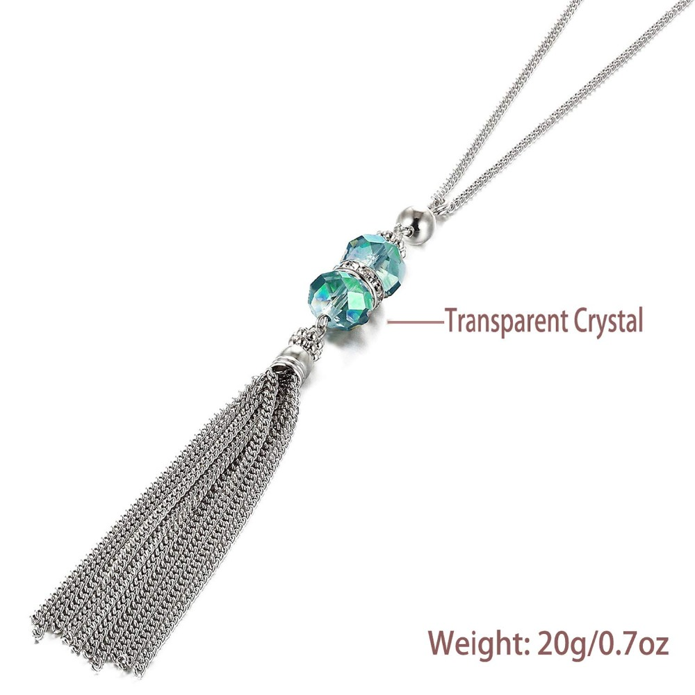 Boho Crystal Bead Necklace Long Chain Alloy Tassel Pendant Necklace for Women Accessories Sweater Jewellery Wholesale