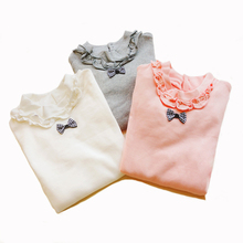 Spring Girls School Blouses Children Cotton Long Sleeve with The Bow Kids All Match Clothing for Winter