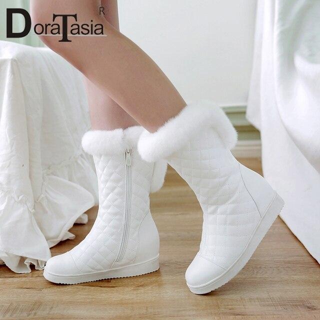 DoraTasia popularne śnieg buty Faux futro zwiększone obcasy ciepłe futro wewnątrz solidna buty zimowe buty damskie kobieta