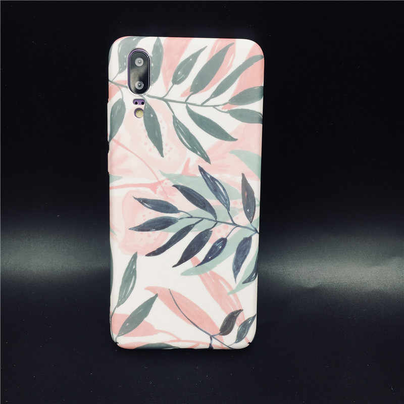 Hard phone Case For Huawei P20 Pro Lite Nova 3 3i 3e 4 4e Pink leaves matte PC Cover For Honor 8X 9 10 Lite V20 Y7Prime Y9 2019