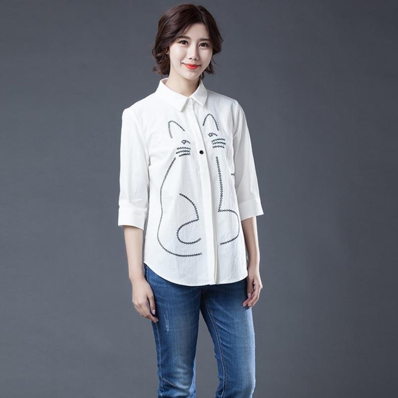 Chaton En Blouse Shirt Chat Femmes Coton Blanc Motif Creative De Printemps Tops Chemisier Manches Moitié Chemise 2018 Mode Été gSSwP6Zq