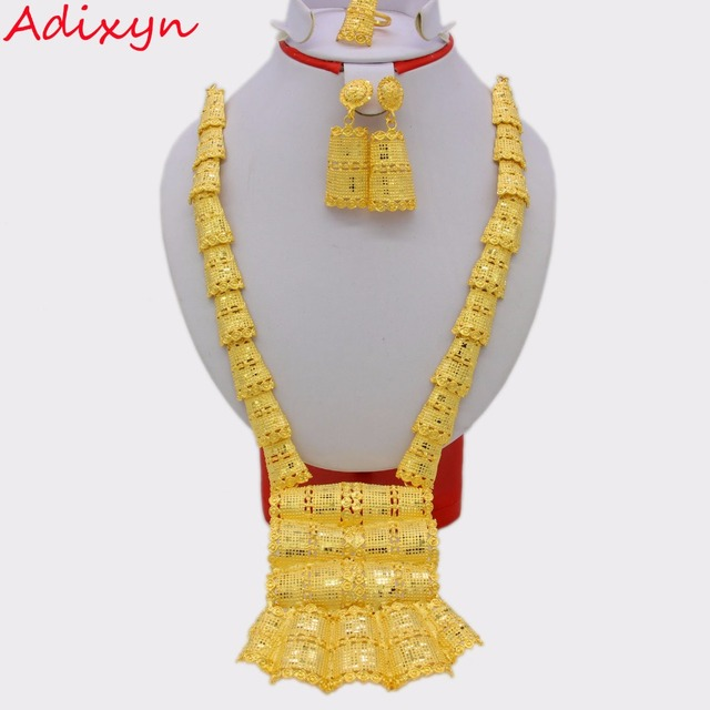 Adixyn 64cm/25inch Fashion Necklace/Earrings/Ring Jewelry Set Women Gold Color Arab/Ethiopian Jewelry Wedding Accessories