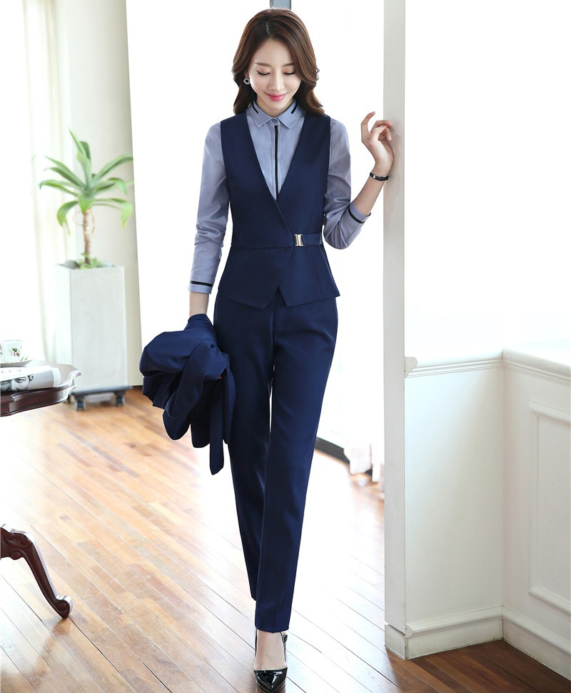 New 2018 Autumn Fashion Pantsuits Women Suits With Pant And Top Sets Formal Ladies Waistcoat ...