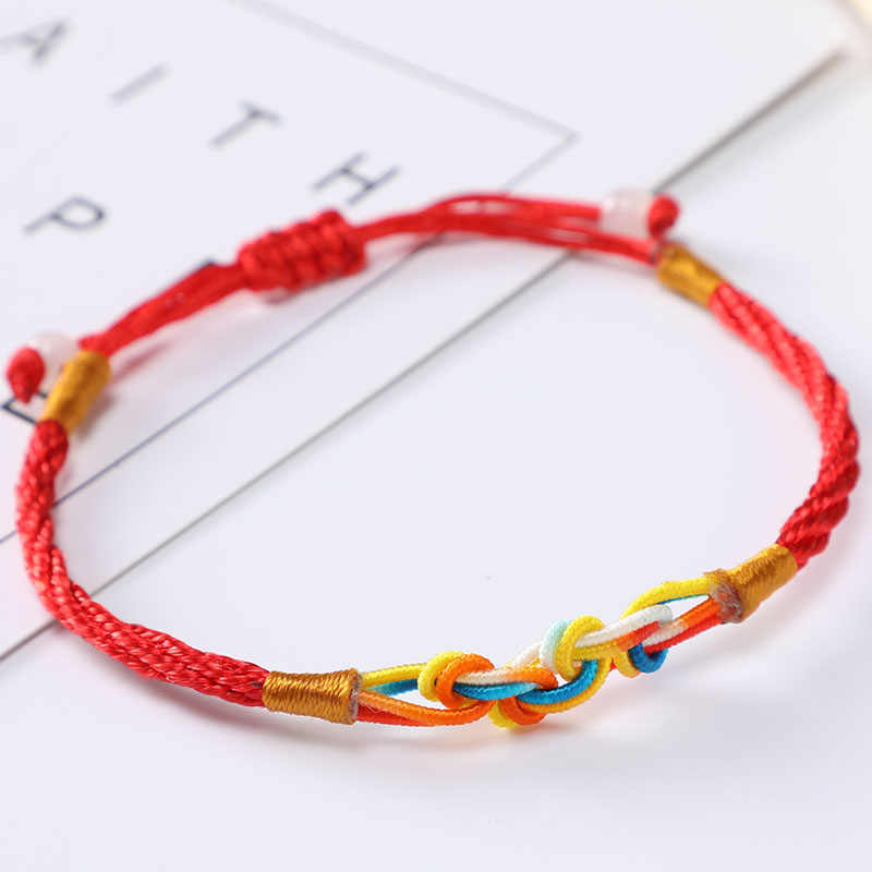 اليدوية الملونة حبل أحمر سوار النساء الرجال حبل مضفر سلسلة أساور أساور محظوظ الأزواج أساور مجوهرات هدايا