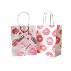 Image 3 - 50 Pcs/lot 15x18cm Cosmetic Pattern Printing Paper Bags With Handle Gift Bags Party Favor Wedding Packaging Storage Bags