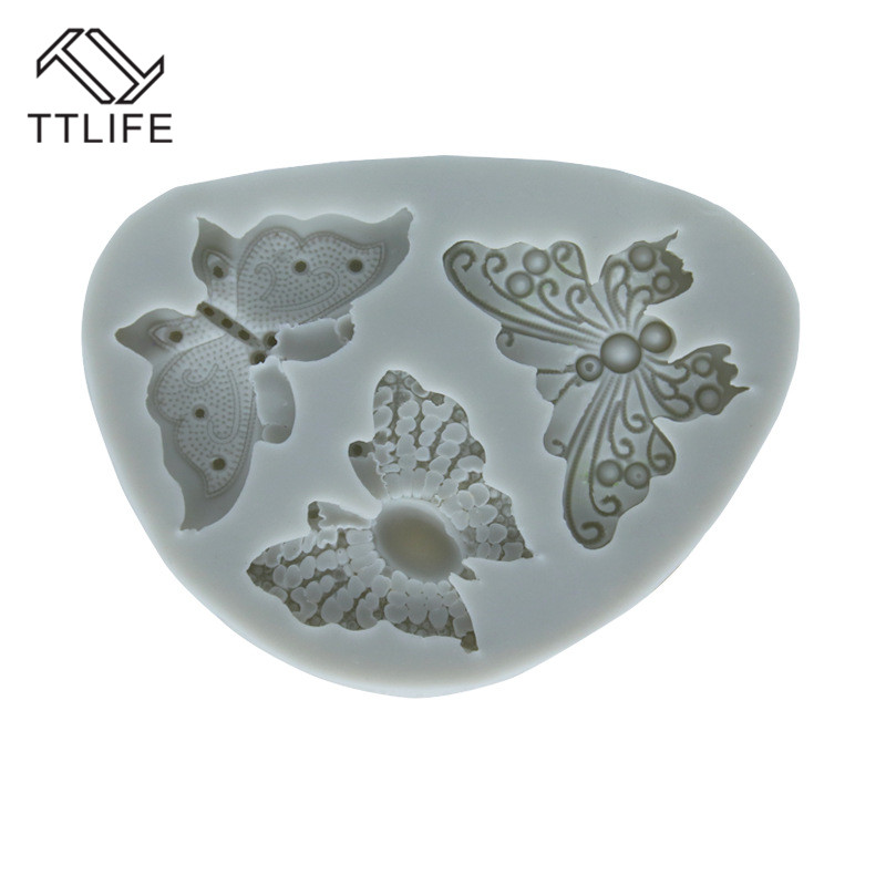 TTLIFE 3 Holes Butterfly Silicone Mold Fondant Cake Sugarcraft Baking Moulds Cookie Jelly Pudding Decorating DIY Tools Pink Grey in Cake Molds from Home Garden