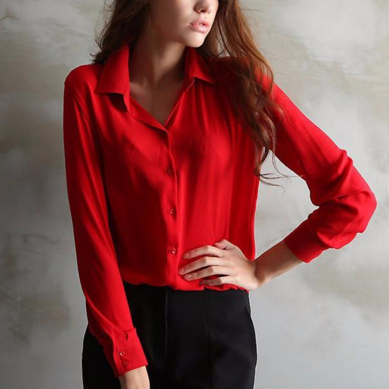 H 2019 Spring New Women's 5 Solid Color Large Size Casual Long Sleeve   Shirt   Chiffon Soft Ladies Vintag Business Clothing   Blouses