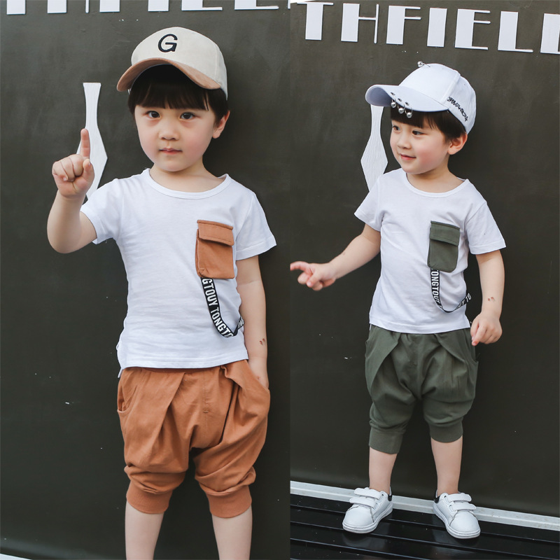 Boys Clothes Suits T-shirt + Pants 2 Pieces Gentleman Set Tie Fake 2 Sets of Fashion Summer Short Sleeves For 2~4 Years