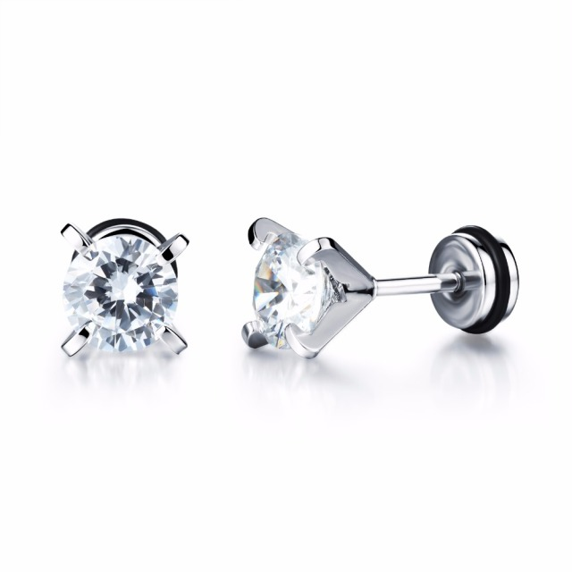 screw stud screwback plated back earrings amazon cz round sterling rhodium jewelry dp silver com solitaire