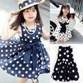 New Baby Clothes Kids Girls Polka Dot Chiffon Dress Bowknot Belt Sundress Tunic Dress 2-6