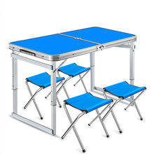 Portable Folding kitchen Dining Table Outdoor Etabli Pliant Aluminum alloy Stable Mesa Camping Folding Tables With Stools(China)