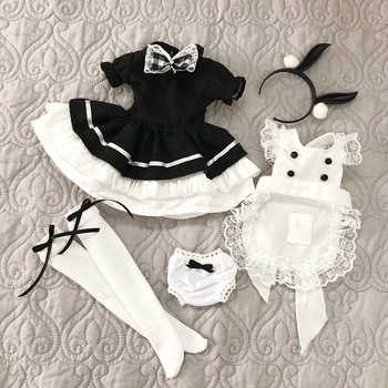 5PCS/set Cute Maid Outfit Cosplay rabbit girl suit dress+apron+underpants+knee high socks+hair band for 1/4 1/6 bjd dolls