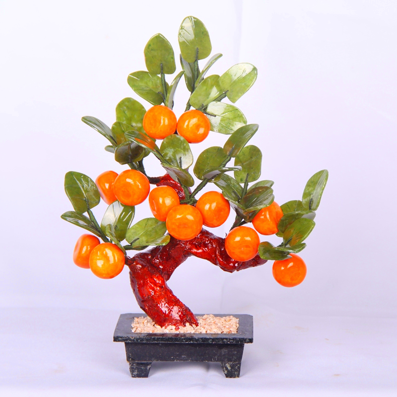 The living room decoration 12 Chinese wine small orange tree porch shelf jade ornaments jade crafts gifts