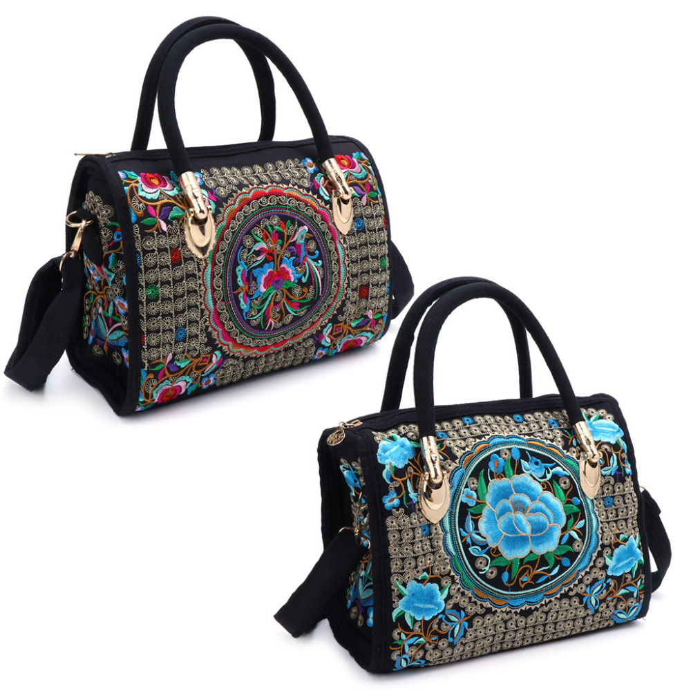 THINKTHENDO Women Floral Embroidered Handbag Ethnic Boho Canvas Shopping Tote Zipper Bag   THINKTHENDO Women Floral Embroidered Handbag Ethnic Boho Canvas Shopping Tote Zipper Bag