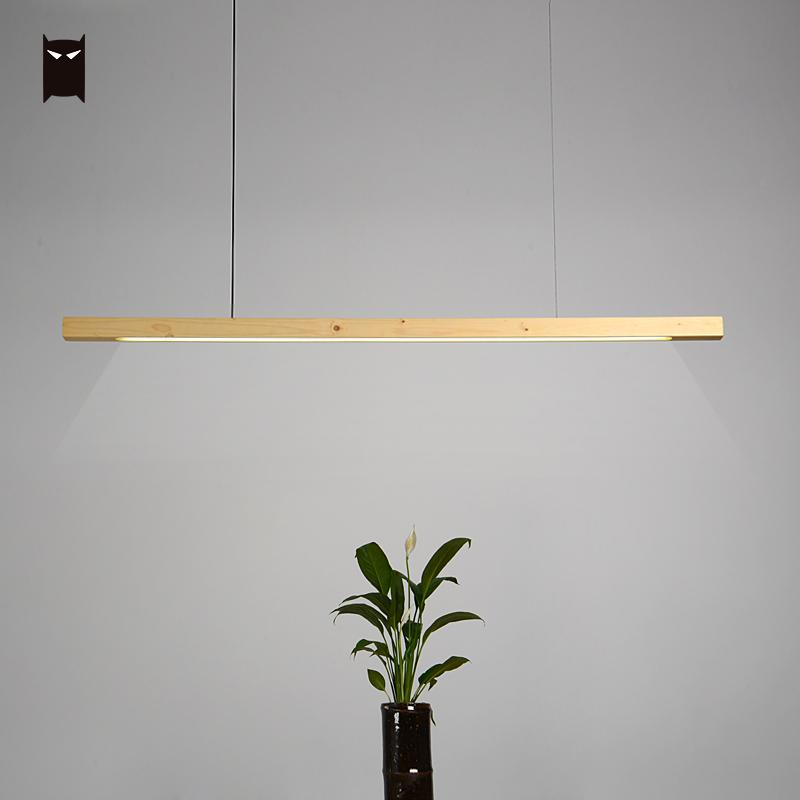 LED Wood Bar Pendant Light Fixture Wire Nordic Scandinavian Modern Minimalist Hanging Ceiling Lamp for Dining Table Room Office zx modern aluminum led chip pendant lamp engineering hanging wire strip light fixture for office conference room study lamp