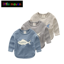 Baby Boys Long-sleeve T-shirt with Fish Pattern 2017 Spring New Arrival Kids Boy Children's Solid Clothing Tee Shirt 100% Cotton
