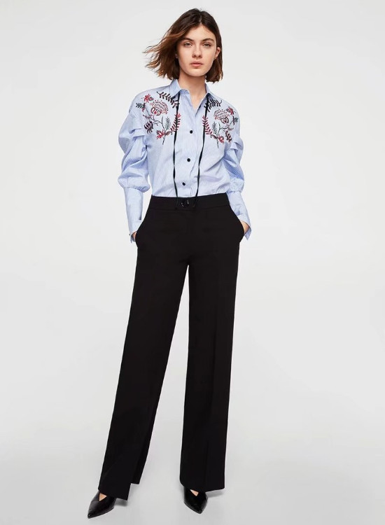 142f559c22cd3e [6] women's blouse cotton embroidery regular style button lapel lantern  turn down collar sleeve striped summer casual lady's shirt -in Blouses &  Shirts from ...